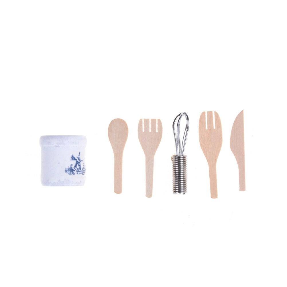 Dollhouse Miniature 1:12 Kitchen Utensils Wooden Kitchenware with Holder