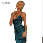 Save 1.76 on 2017 summer Sequined dress deep v-neck backless dress for woman gold sequin party club cocktail nightclub short dresses hot