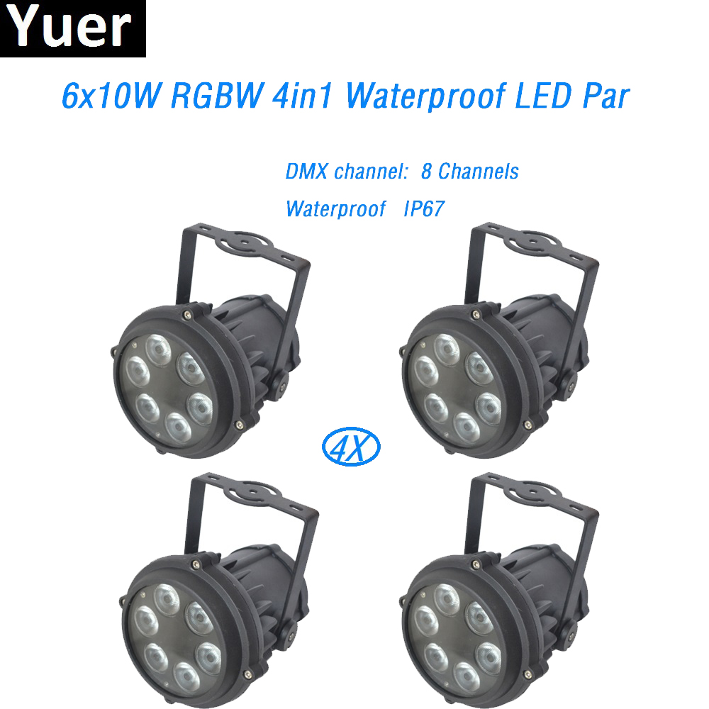 4Pcs/Lot Waterproof led Par light 6x10W 4in1 RGBW Outdoor Wedding Party LED Can Machine No Noise Stage Dj Disco Effect Lights 2017 factory price 1pcs 60w bee eyes beam par light 6x10w rgbw 4in1 led par lights for stage dj disco professional party show