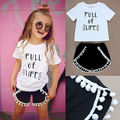 Toddler Baby Girls Summer Outfits Clothes t shirt+ Shorts Children Girl Trouser 2pcs Set  2016 new high Quality