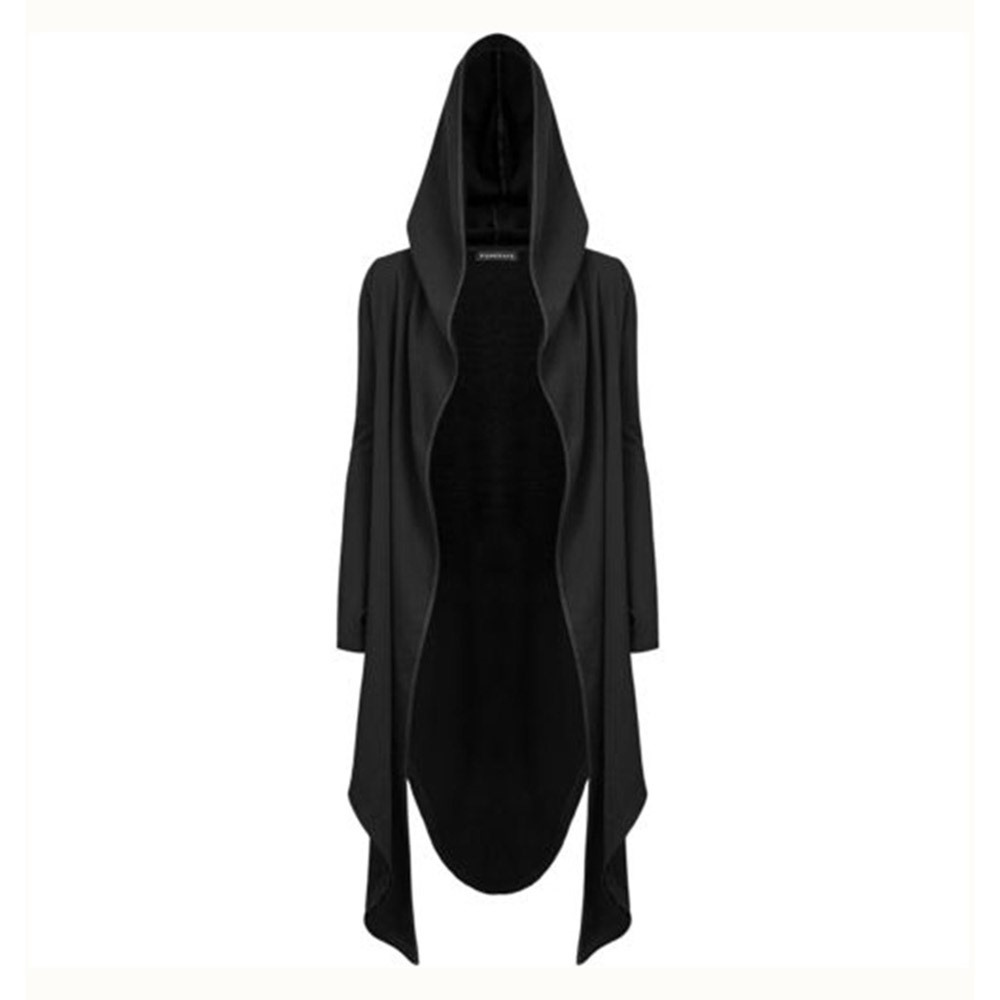 Gothic Casual Hooded Long Coats Women Autumn   Trench   Coat Fashion Streetwear Minimalist Black Top Female Loose Cardigan Overcoat