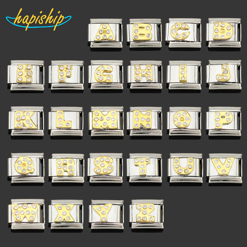 Beads Beads & Jewelry Making Hapiship 2018 9mm Width Original Daisy Gold 26 Letters A-z Italian Charm Fit 9mm Bracelet Stainless Steel Jewelry Making Dj110 Be Novel In Design