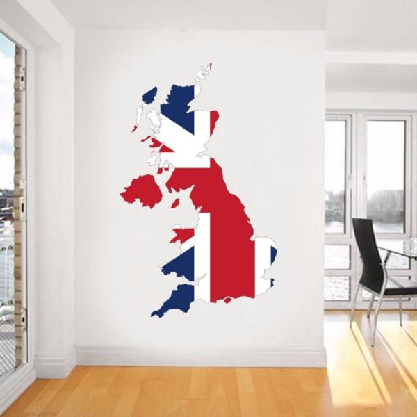 Drapeau Carte de Royaume-uni Mur Vinyle Autocollant Accueil Personnalisé Décoration de Mariage D'autocollant De Mur PVC Papier Peint De Mode Affiche