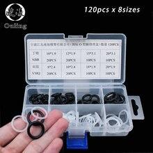 купить Mini White Black 120PCS 8Sizes VMQ NBR O Ring Silicone Seal Assortment Sealing O-ring Set Kit Flexible silicon Gasket Box дешево
