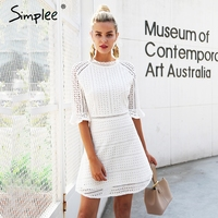 Simplee Vintage Hollow Out Lace Dress Women Elegant Half Sleeve Midi White Dress Autumn Chic Party