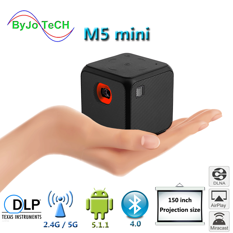ByJoTeCH M5 Mini projector Android Dual band WIFI wireless synchronization screen Bluetooth 1080P home cinema battery proyector Проектор