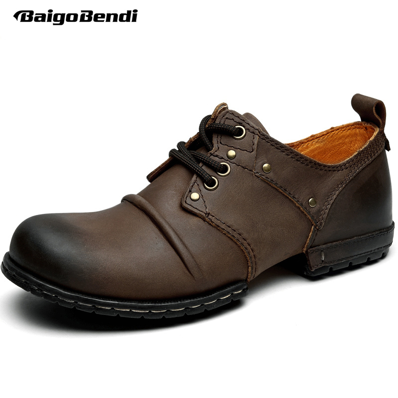 Top Genuine Leather Mens Wrinkle Round Toe Lace UP Casual Business Dress Martin Work Shoes Oxford