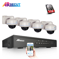 2017 4CH 48V POE NVR CCTV System Onvif P2P 1080P HD Vandalproof Fixed Dome IR Security