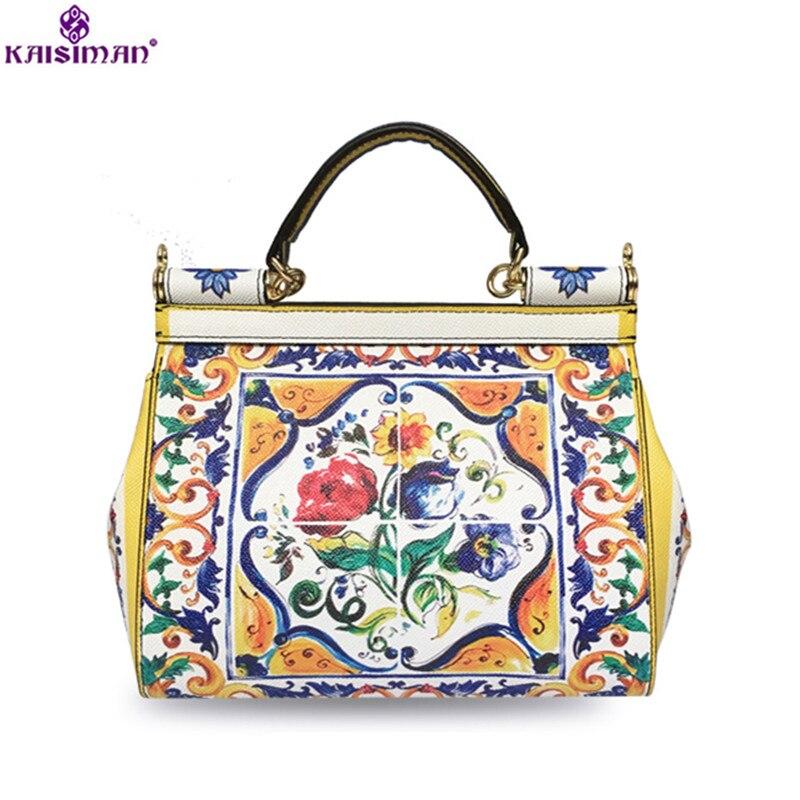 Luxury Fasmou Brand Flower Print Painted Women Tote Bag Genuine Leather Shoulder Bag Sicilian Vintage Style Handbag Clutch Purse vintage style twig shape flower embellished women s earring