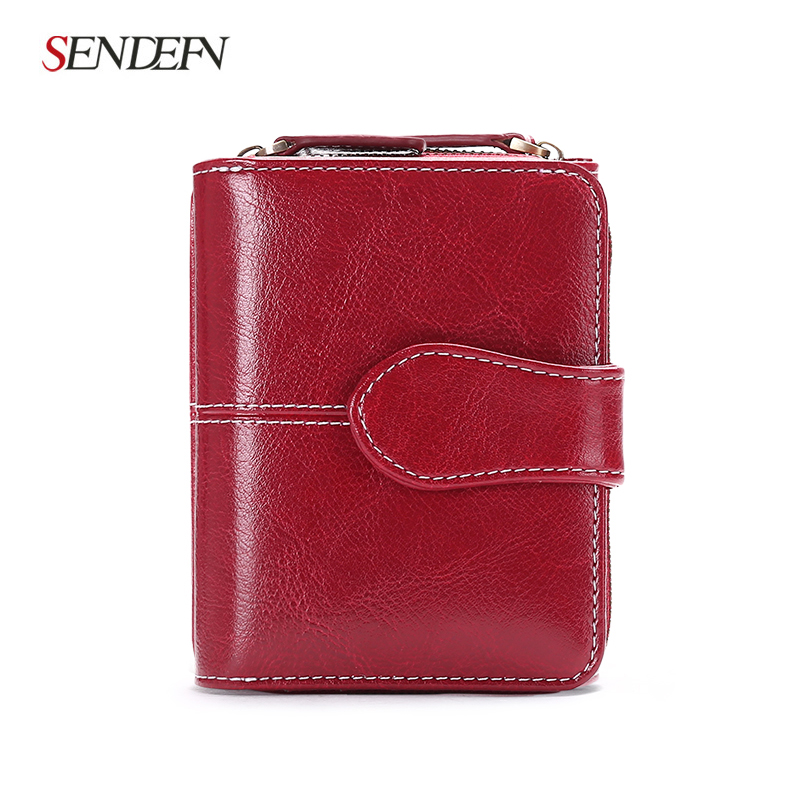 Sendefn New Wallet Women Purse Brand Coin Purse Zipper Wallet Female Short Wallet Women Split Leather Small Purse sendefn large capacity wallet split leather wallet female long wallet women zipper purse strap coin purse