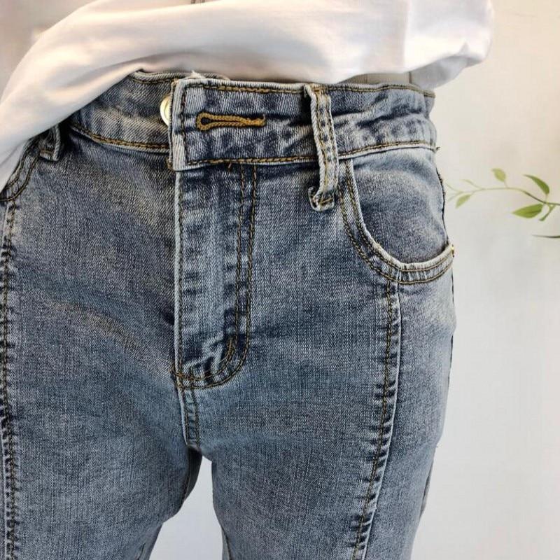 Denim Flare Jeans Bleu Femmes Coréen Avant Style Cheville De Split Casual Diamant Front Mince Mode Streetwear longueur side Split Pantalon Stretch 7Y0w7qaC