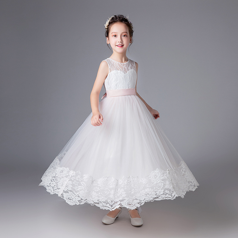 Princess Pink Shee Neck Lace A-line Long Flower Girls Dresses Sleeveless With Bow Sash Girls First Communion Prom Party Dresses