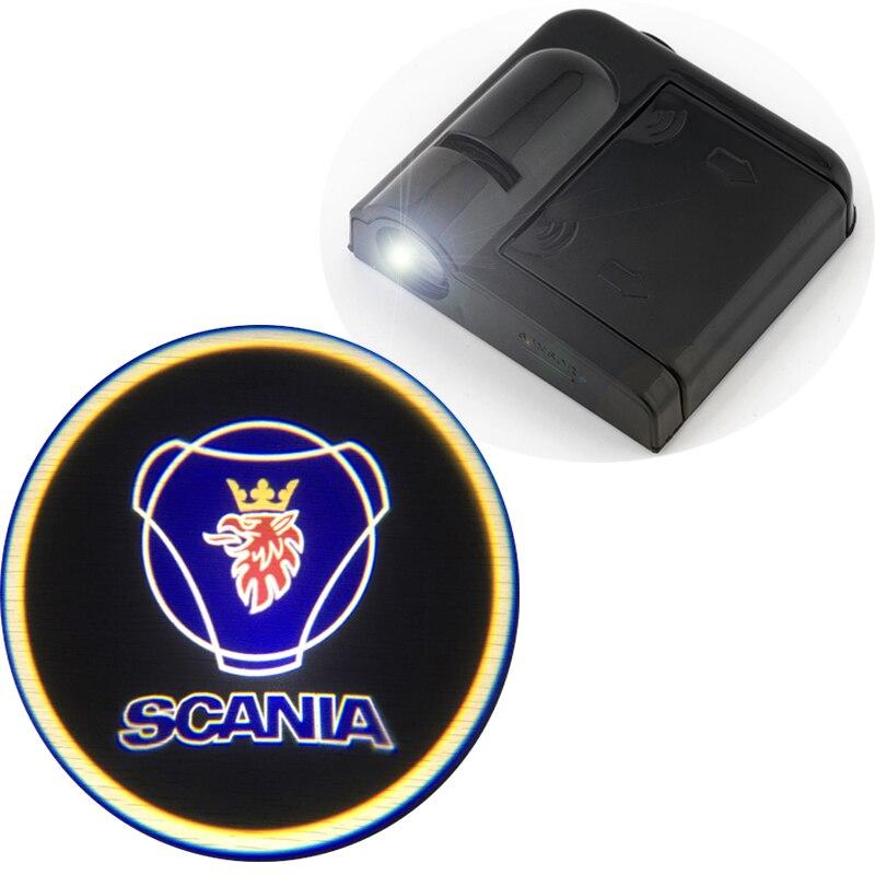2*Ghost Shadow Logo Welcome Car LED Door Light Laser Courtesy Slide Projector Logo Emblem Light For Tamiya Scania
