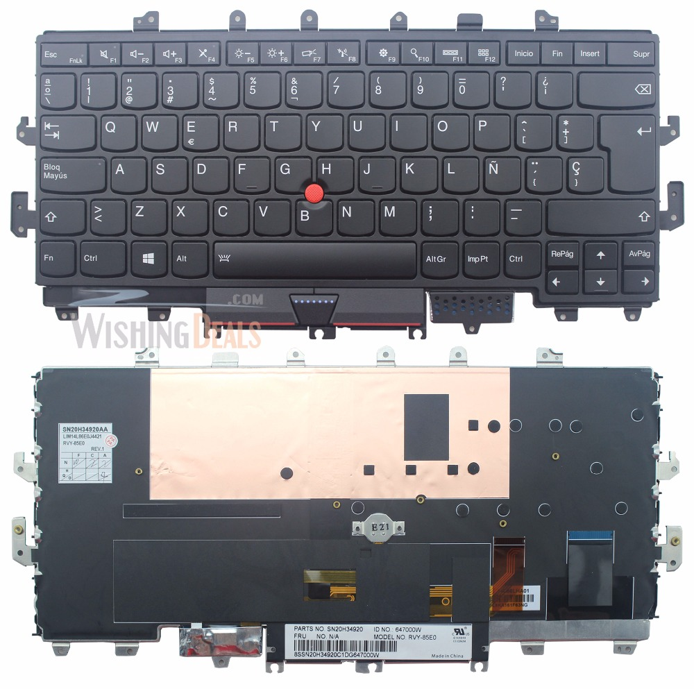 New Laptop Replacement US Backlit Keyboard for Lenovo ThinkPad X1 Yoga MT 20FQ 20FR with Frame