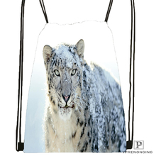 Custom snow-leopard-nature-life Drawstring Backpack Bag Cute Daypack Kids Satchel (Black Back) 31x40cm#180611-01-11