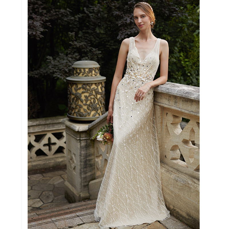 f206ac69e7f LAN TING BRIDE Sheath Column Wedding Dress Sleeveless V-neck Sweep Brush  Train Lace Sheath Bridal Gown with Simple