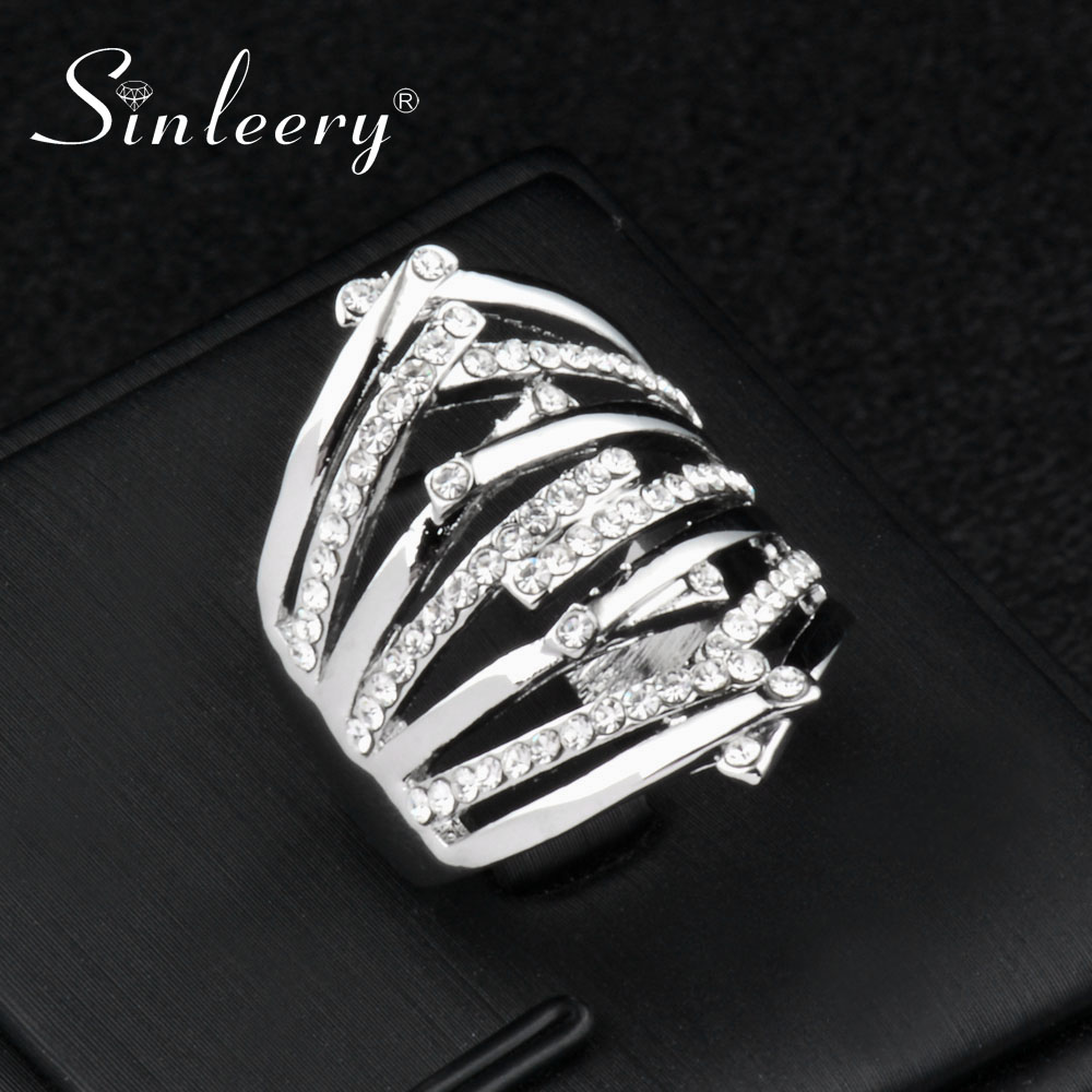 SINLEERY 2018 Trendy Silver Color Cross Finger Rings With Cubic Zirconia Fashion Party Jewelry Size 7 8 9 JZ184 SSC