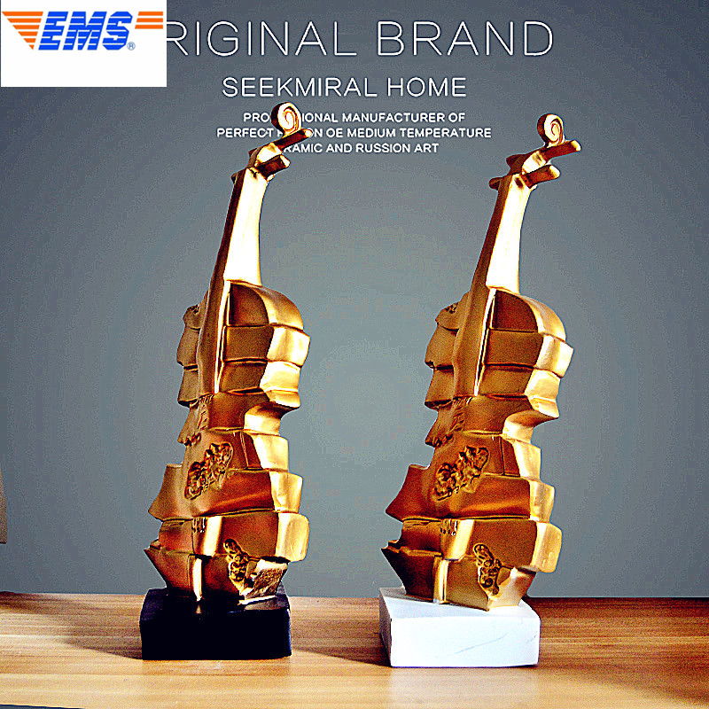 37CM Gold Violin Statue Music Bust Resin Art Craft Minimalist Style Home Decoration Model Ornaments L2691