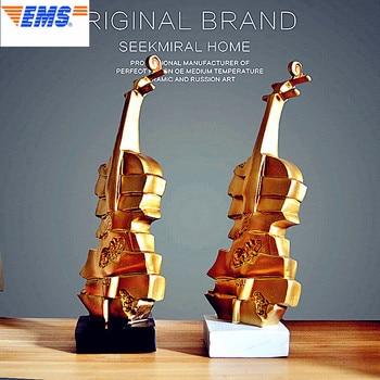37CM Gold Violin Statue Music Bust Resin Art Craft Minimalist Style Home Decoration Model Ornaments L2691