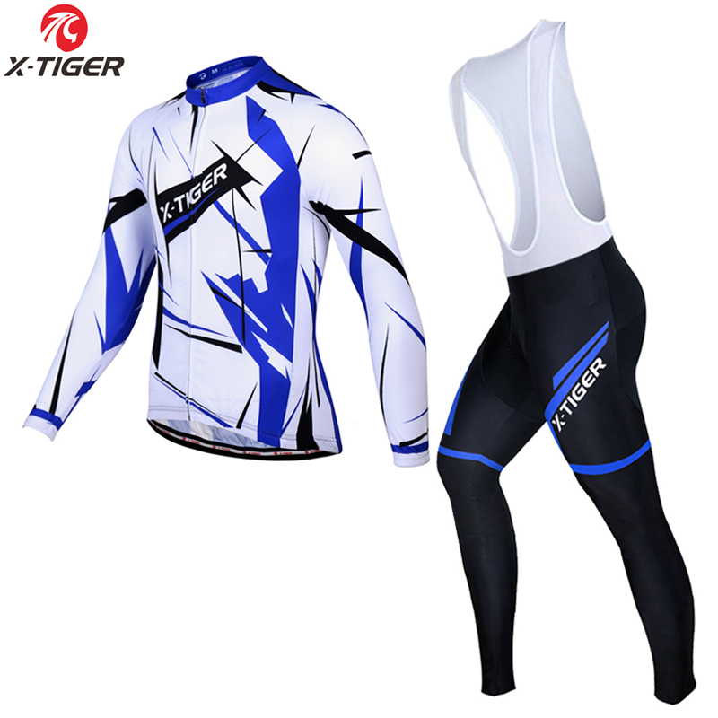 X-Tiger 2018 Breathable Pro Cycling Jersey Sets Ropa Maillot Ciclismo MTB Bike Clothes Wear Long Sleeve Racing Bicycle Clothing