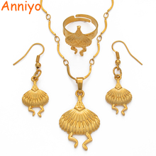 цена на Anniyo Gold Color New Bird Pendant Necklaces/Earrings/Free Size Ring,Papua New Guinea Jewellery PNG Gifts #114606