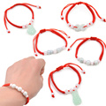 Lychee 1 piece Chinese Style Artificial Jade Pendant Beaded Red String Bracelet Feng Shui Good Luck Jewelry