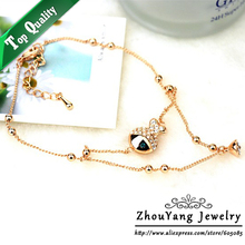 ZYA002 Sexy Fish K Rose Gold Color Anklets Jewelry Made with Genuine Austrian Crystals Wholesale