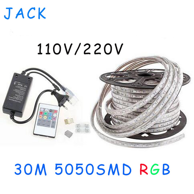sale 30M 110V/220V High Voltage SMD 5050 RGB Led Strips Lights Waterproof + IR Remote Control + Power Supply