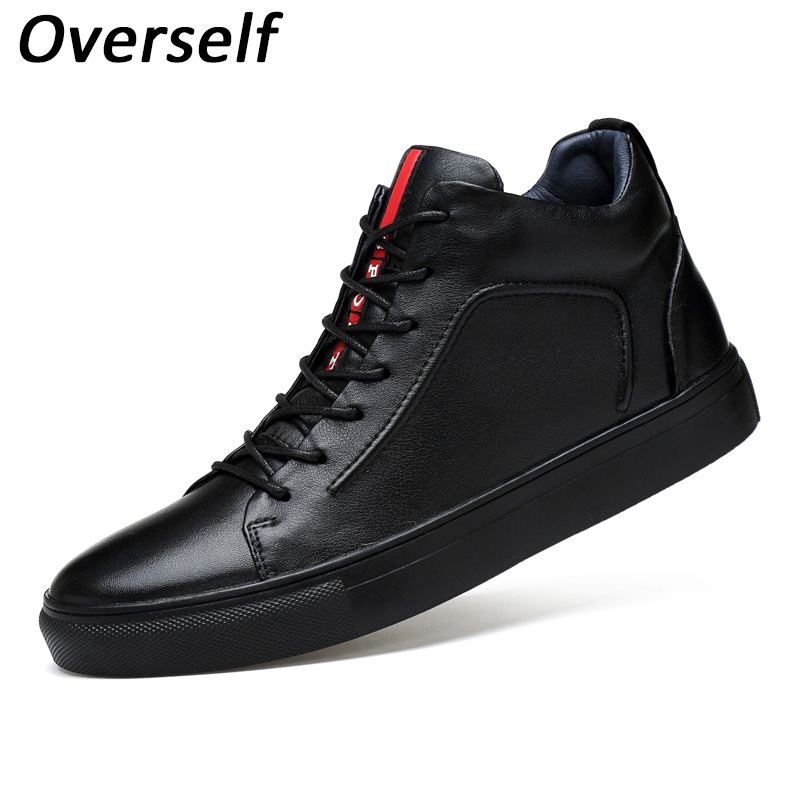 New fashion men flats soft genuine leather casual shoes winter mens flat black high top lace up shoe plus big size high quality цена 2017