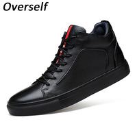 New Fashion Men Flats Soft Genuine Leather Casual Shoes Winter Mens Flat Black High Top Lace