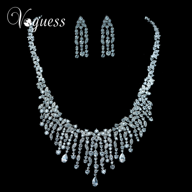 VOGUESS Top Quality AAA Zircon Bridal Jewelry Sets Silver Color Rhinestone Necklace Wedding Engagement Jewelry Sets for Women