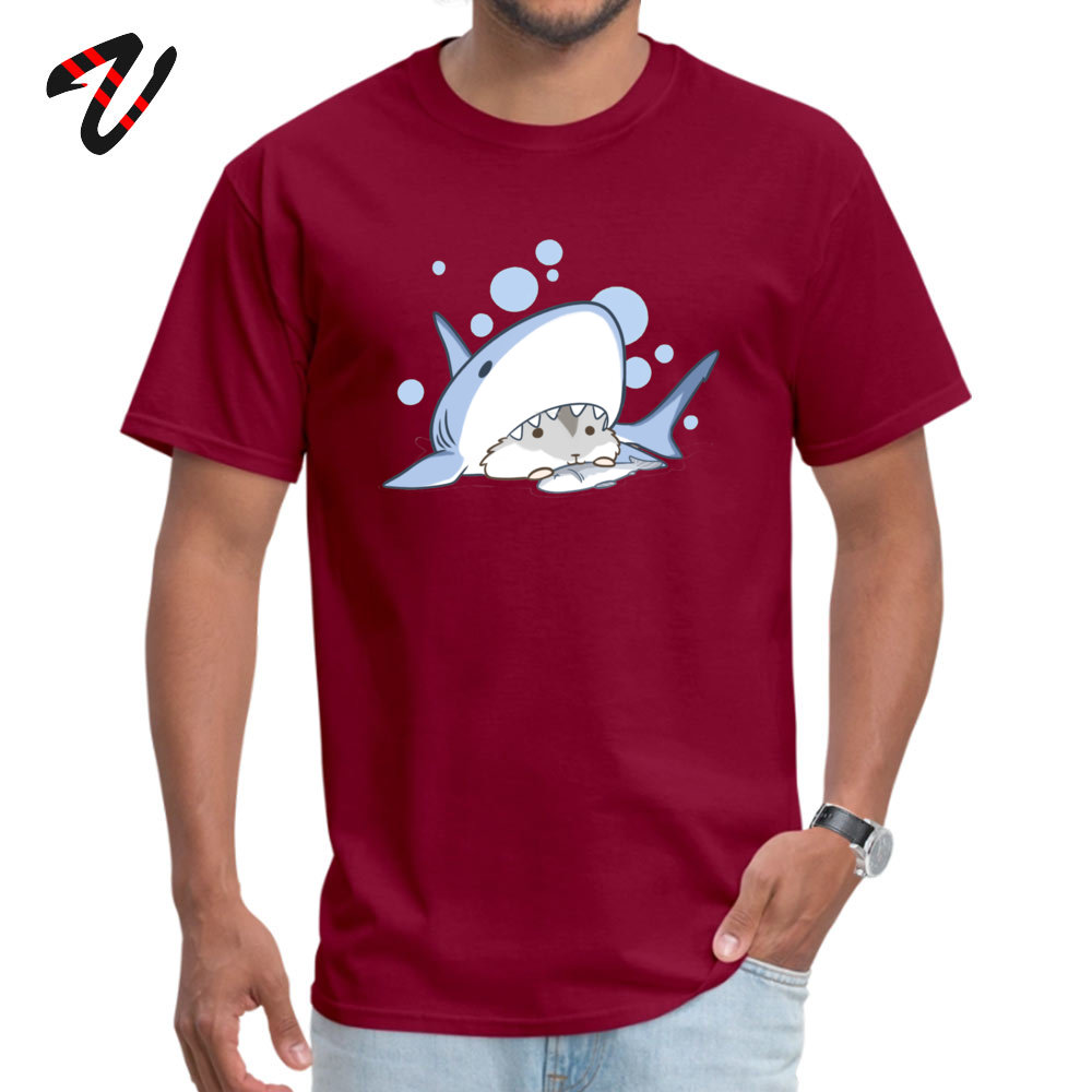 Coupons Hamster Shark Comics Short Sleeve Top T-shirts Mother Day O Neck Pure Cotton T Shirt for Men Top T-shirts Printed On Hamster Shark 2303 maroon