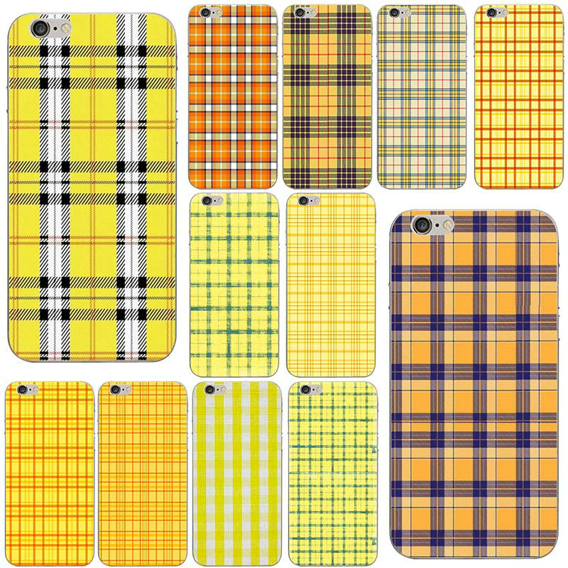 the best attitude a194d d29cf Fashion Yellow Gingham Plaid Wildflower Soft TPU Silicone Mobile Phone  Cases for iPhone X 8 7 6 6S Plus 5 5S SE 5C 4S Shell Bags