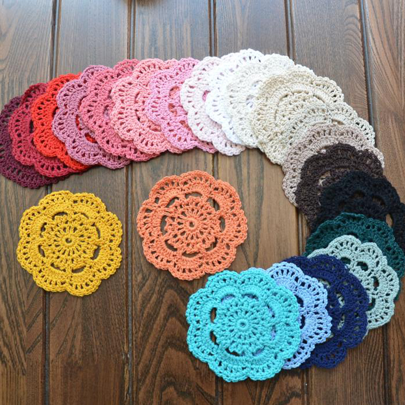 Retro Crochet Coasters Table Mat 10cm Round Handmade Mori Doilies Cup Pad Shooting Props Flower Lampshade 20pcs Wholesale