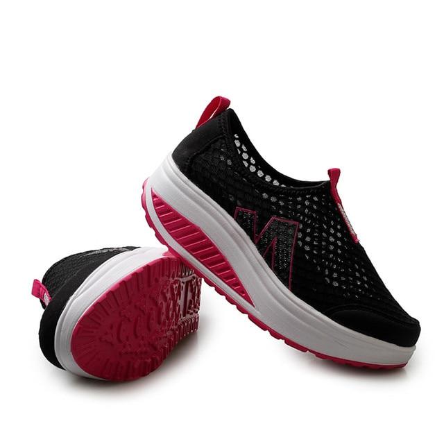أحذية نسائية جديدة أحذية أنيقة غير رسمية المشي منصة الارتفاع زيادة النساء المتسكعون تنفس شبكة سوينغ أسافين حذاء A30716 2
