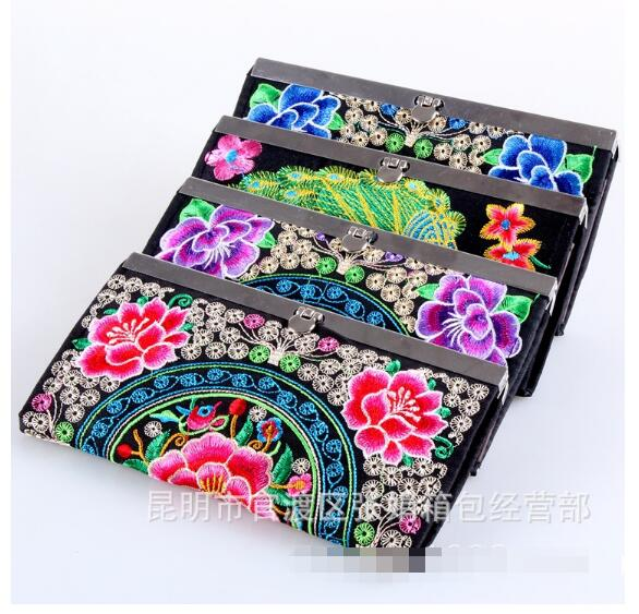New National Ethnic Hmong embroidery wallet personalized embroidered women Clutch long hasp purse