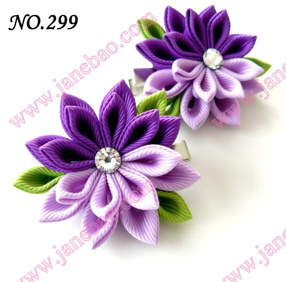 free shipping 24 pcs 3 kanzashi flower hair clips badge reel hair clips hair bows