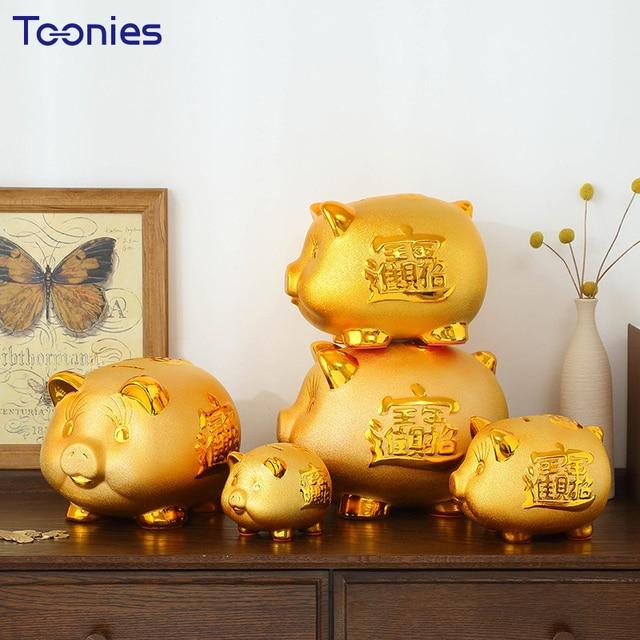 Large Ceramic Opening Creative Gifts Gold Pig Piggy Bank Vintage ...