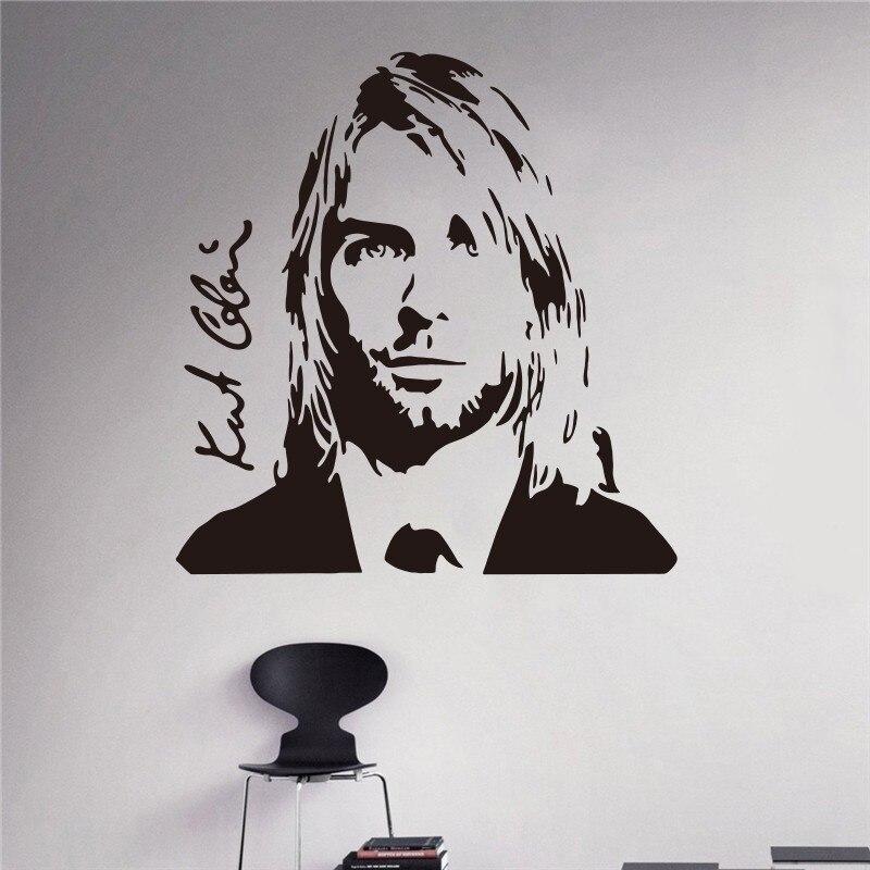 Kurt Cobain Wall Decal Grunge Nirvana Vinyl Sticker Rock Star Singer Music Studio Art Design Housewares