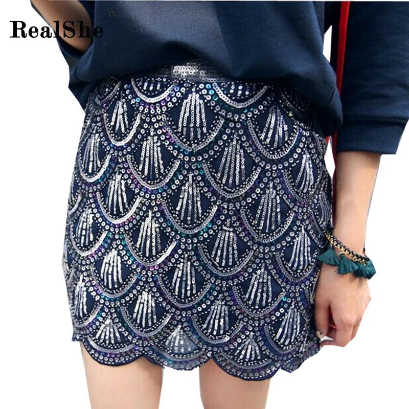 RealShe Womens Skirts Women High Waist Jupe Peacock Feather Sequins Female Mini Saia Summer Faldas Casual Bodycon Pencil Skirt