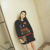 High End G New Bee Butterfly Flower Embroidered Round Neck Long Sleeved Hoodie Gypsy Pullovers Sweatshirts
