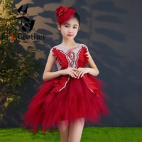 Crystal Beading Swan Wine Red Flower Girl Dresses For Wedding Ball Gown Kids Pageant Dress Birthday Costume Girls Evening Gowns