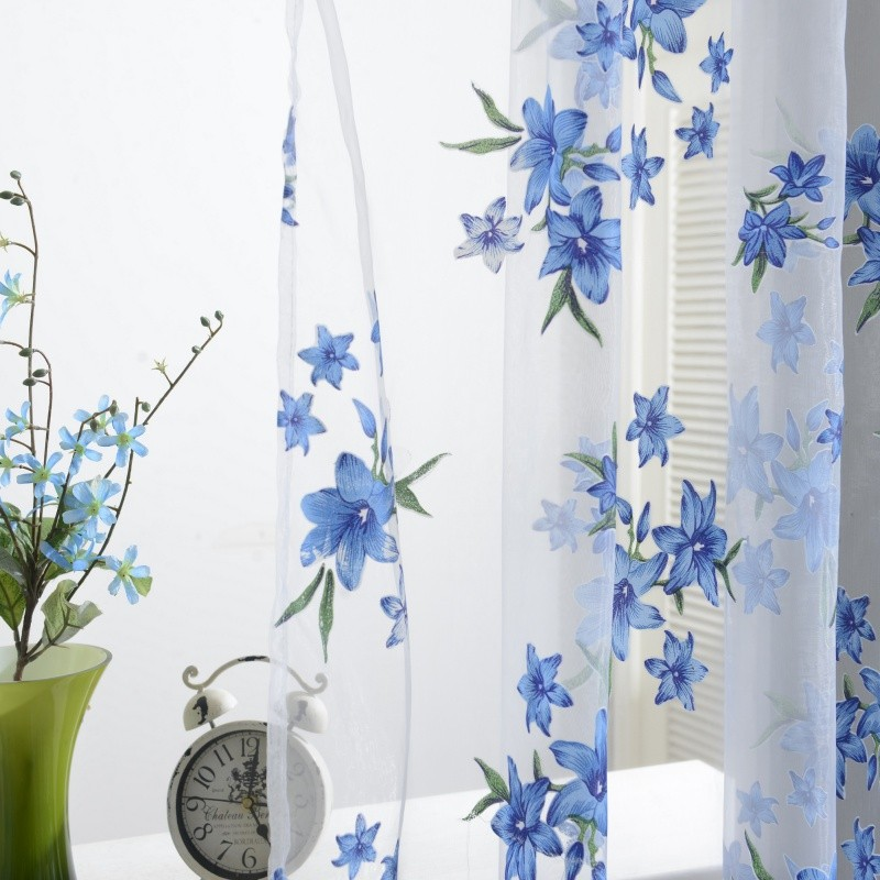 NEW curtains Wholesale on sale Tulle 3d Window Sheer Curtains for Living Room cortinas curtains for Bedroom Kitchen Panel 1pc