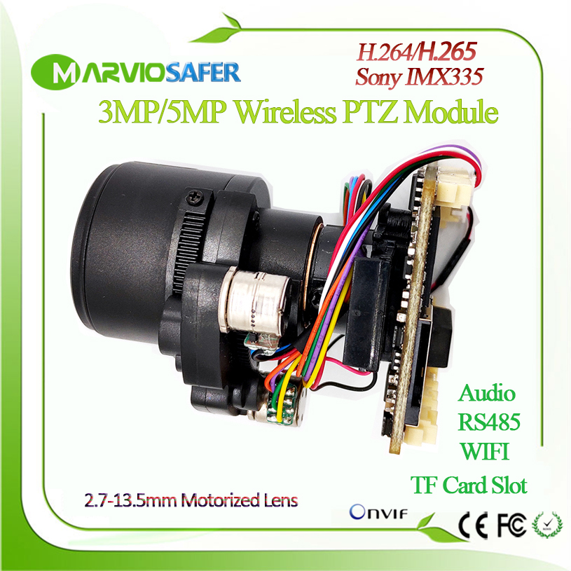 H.265 3MP/5MP Starlight Wireless Wifi IP PTZ Camera Module 2.7-13.5mm 5X Zoom Lens Onvif, TF Card , Audio DIY Your Own Video Cam