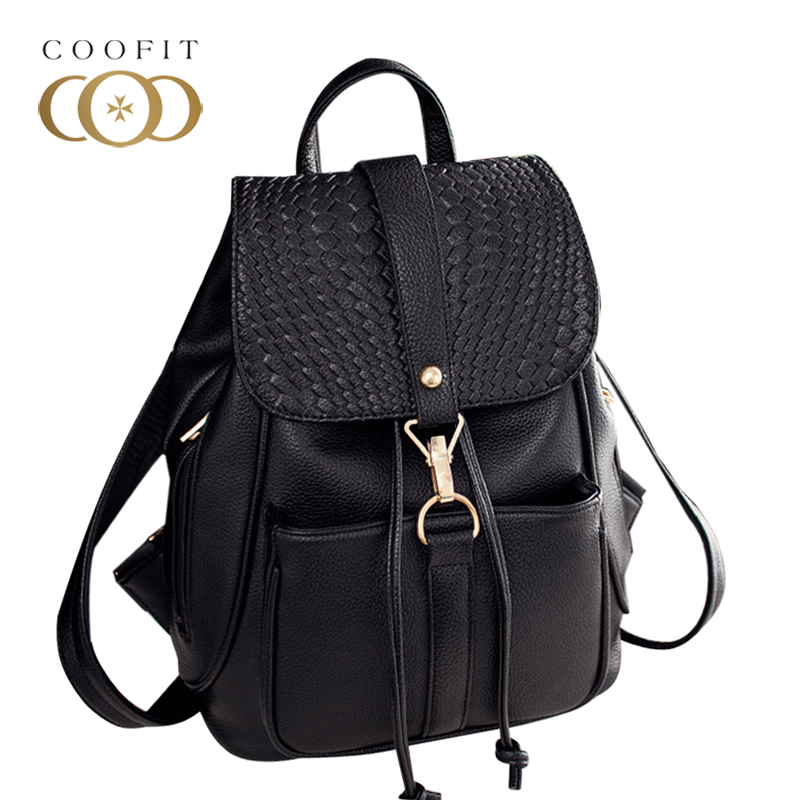 Coofit Female Black Backpack Women Girls PU Leather Schoolbags Fashion Wave Printed Drawstring Backpacks For Girls