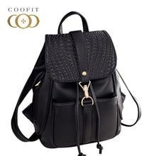 Coofit женский черный рюкзак женщины из искусственной кожи для девочек школьные Мода волна печатных шнурок рюкзаки для девочек подростков