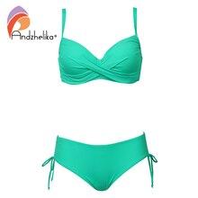 Andzhelika 2020 Plus rozmiar Bikini Set jednokolorowy strój kąpielowy Halter Bikini lato plaża nosić krzyżowe sznurowania stroje kąpielowe średnio wysoka talia strój kąpielowy