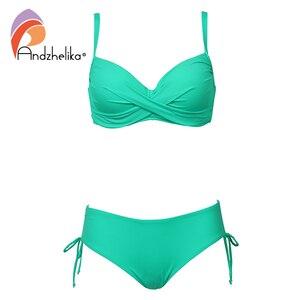 Image 1 - Andzhelika 2020 Plus rozmiar Bikini Set jednokolorowy strój kąpielowy Halter Bikini lato plaża nosić krzyżowe sznurowania stroje kąpielowe średnio wysoka talia strój kąpielowy