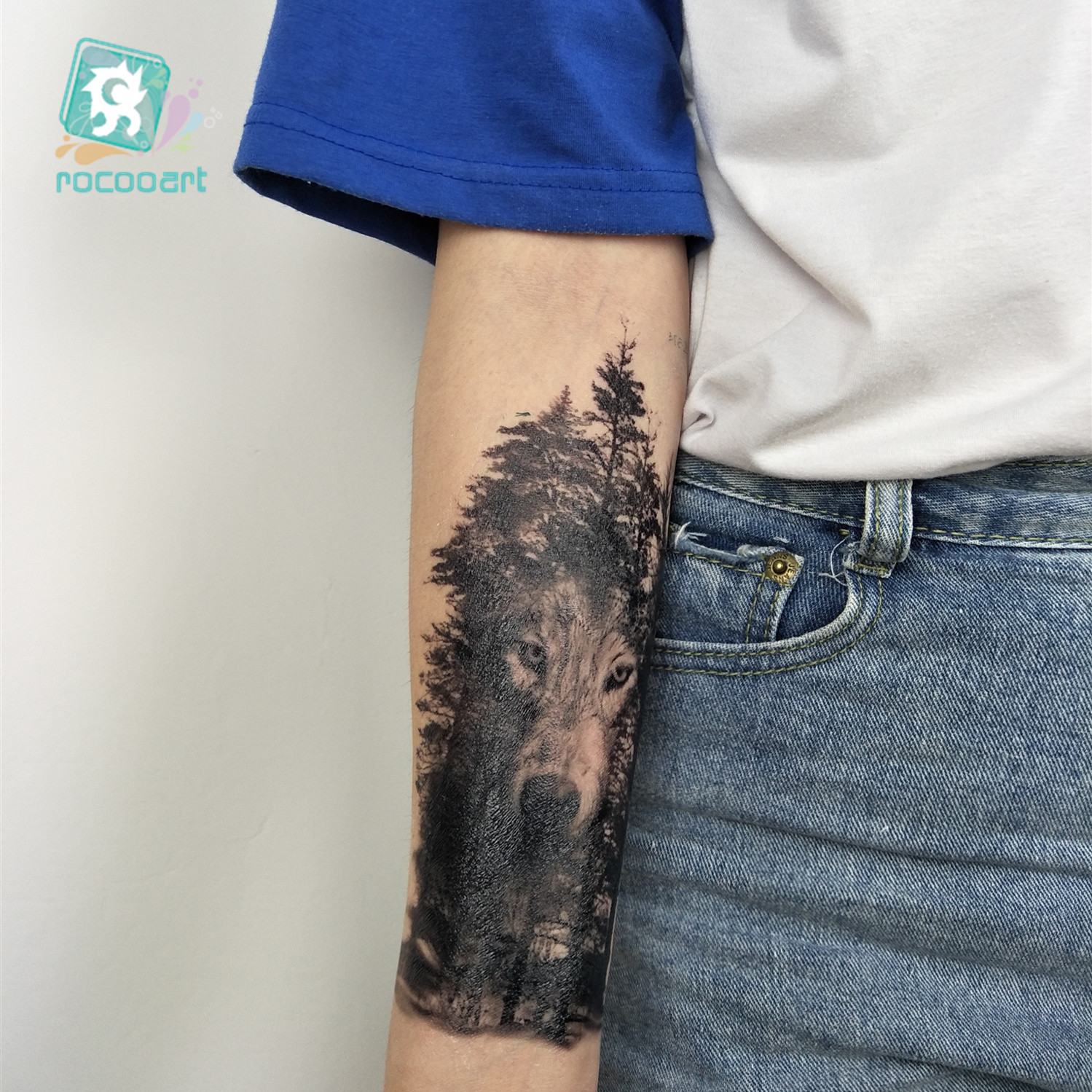 Rocooart Large Tattoo Sticker Wolf In Trees Fake Tattoo Taty Henna Tatouage Body Art Temporary Tattoo Stickers For Women