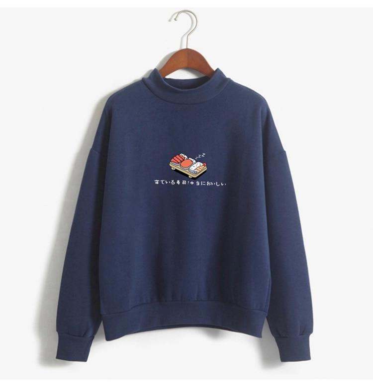 Women Hoodies 19 Autumn Winter Sweatshirts Cartoon Kawaii Sushi Japanese Print Fleece Loose Moletom Feminino Harajuku Pullover 9